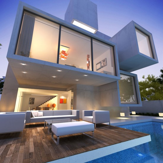 Contemporary house with pool at dusk